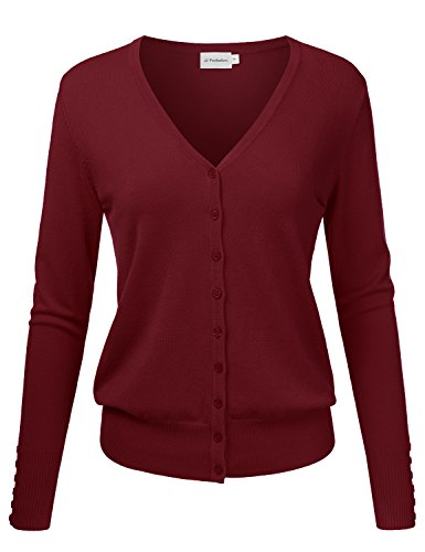 JJ Perfection Women's Classic Button Down Long Designed Sleeve Knit Cardigan MARSALA M