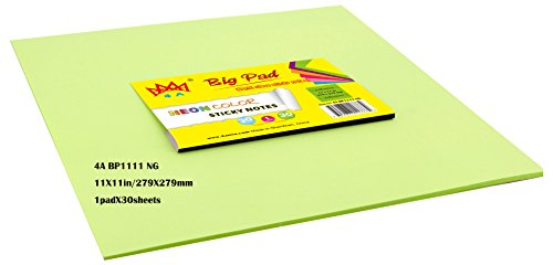 4A Sticky Big Pad,11 x 11 Inches,Large Size,Neon Green,Self-Stick Notes,30 Sheets/Pad,1 Pad/Pack,4A BP1111 NG