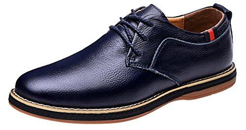 Mohem Darren Mens Premium Äkta Läder Spets-up Oxfords Skor Blå