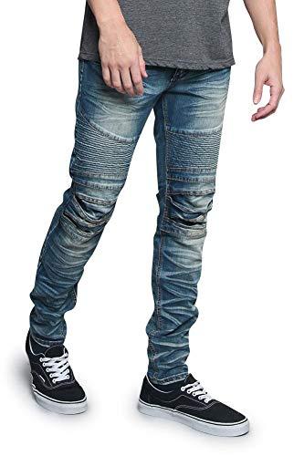- Victorious Men's Artisanal Creased Ribbed Thigh Layered Knee Biker Denim Jeans DL1083 - Indigo - 34/32 - V7C