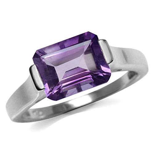 Amethyst Solitaire Ring - 3.22ct. Natural Amethyst 925 Sterling Silver Solitaire Ring Size 8