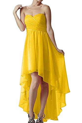 La_mia Braut Gelb Damen Chiffon Abendkleider Ballkleider Festlichkleider Hi-lo Chiffon Brautjungfernkleider A-linie Gelb a9rw4aAUIH