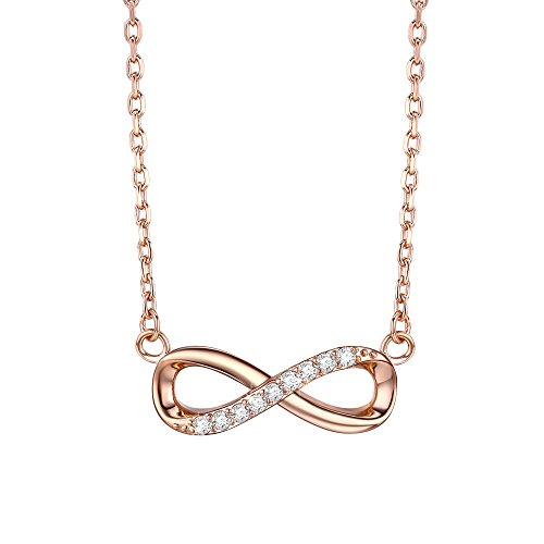 F.ZENI Women Necklace Infinity Forever Love 925 Sterling Silver 18K Yellow Gold Rose Gold plated Pendant Delicate Choker for Women Girls with Gift Box 16''-18'' by F.ZENI (Image #8)