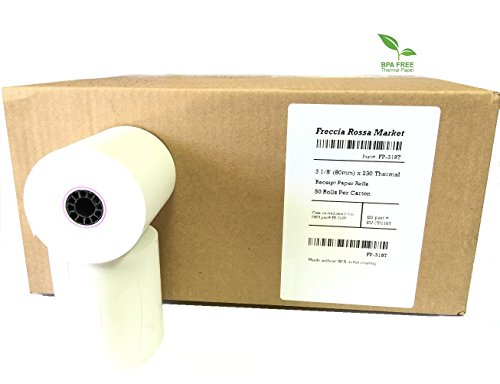 "Thermal Receipt Paper, 3-1/8"" X 230, White, 50 Rolls/pk, BPA Free, by Freccia Rossa Market"