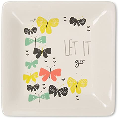 Pavilion Gift Company Bloom by Amylee Weeks - Let It Go Butterfly Jewelry Dish, Floral (Butterfly Jewelry Dish)