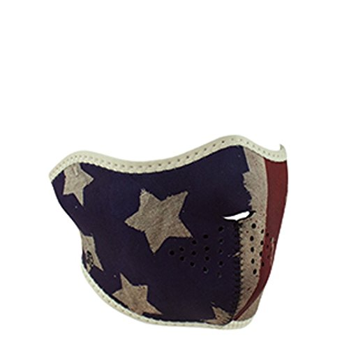 Distressed USA American Patriot Flag Reversible to Black Neoprene Half Face Mask