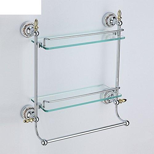Double glass bathroom shelf/Racks on the wall/Wall hanging/shelf/Storage shelf /Towel Bar-C by JINTIANSDS