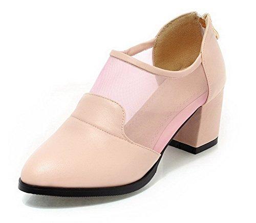 AllhqFashion Damen PU Leder Mittler Absatz Spitz Zehe Stiefel, Pink, 41