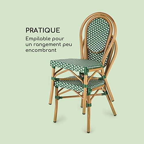 blumfeldt Montpellier GR Chaise de Jardin, Nettoyage Facile, Cadre en Aluminium, Empilable, Résistante aux intempéries, Peu encombrante, Assise