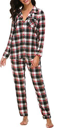 (N NORA TWIPS Pajamas Women's Long Sleeve Sleepwear Soft PJ Set Red Plaid M)