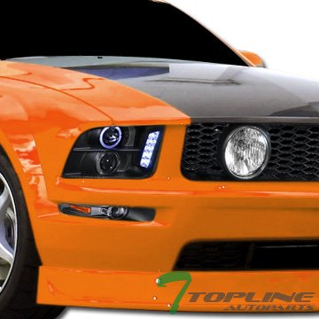 Topline Autopart Black Halo Drl Led Projector HeadLights with Signal Bumper lamps Amber Jy 05-09 Ford Mustang