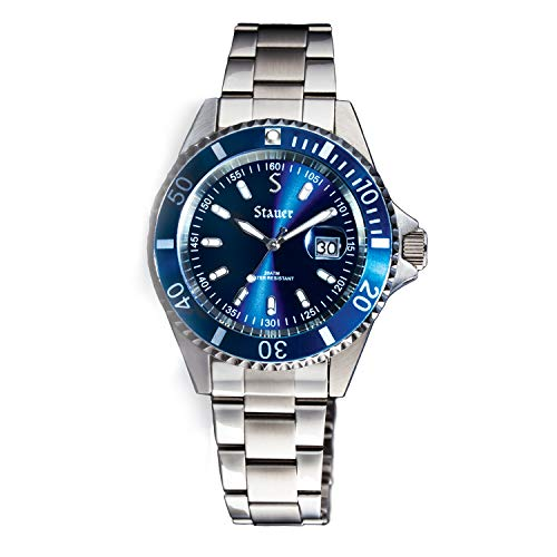 Stauer Men's 200M Excursion Stainless Steel Dive Watch with Stainless Steel Link Bracelet