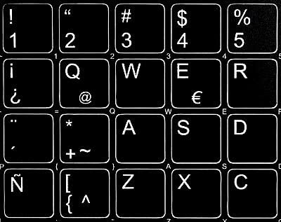 15x15 Size Spanish Latin American Non-Transparent Keyboard Stickers Black Background