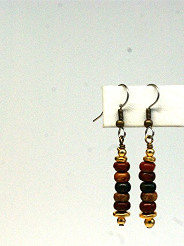 Jasper Boho Dangle Earrings - Stacked Oregon Red Creek Jasper Mini Rondelle Beads - French Hook Earwires - Gold Accents - Hand Wrap Earwires