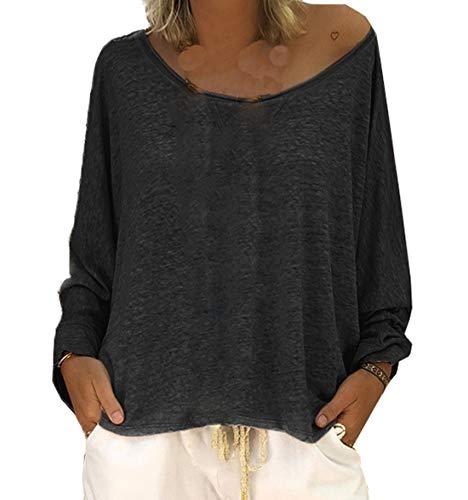 Fashion Rond Manches Jumpers Hauts Blouse Printemps Confort Femmes Col Noir Automne Lache Tees Shirts Tops et Casual Pulls T Longues TqTY8I