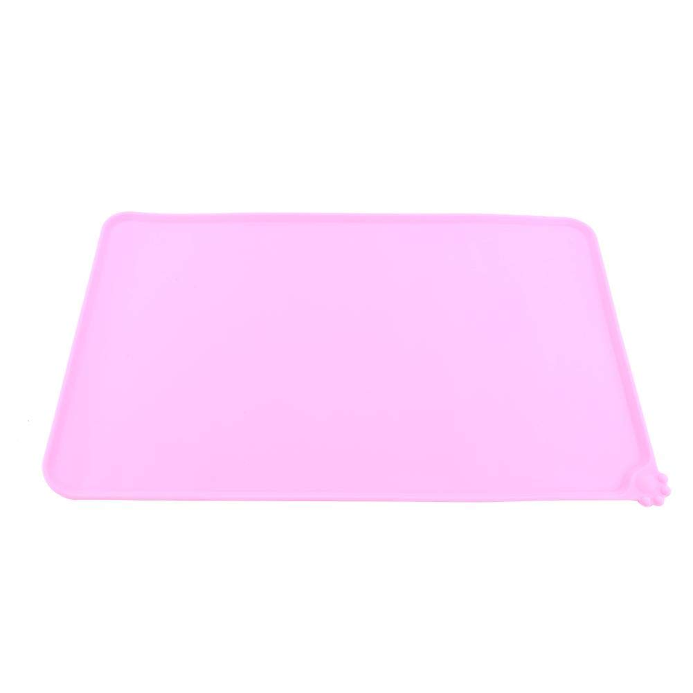 GLOGLOW 4Colors Cat Feeding Mat, Non-stick Silicone Dish Bowl Feed Non-Slip Food Water Placemat Anti-Spill Dog Puppy Pet Product(Pink)