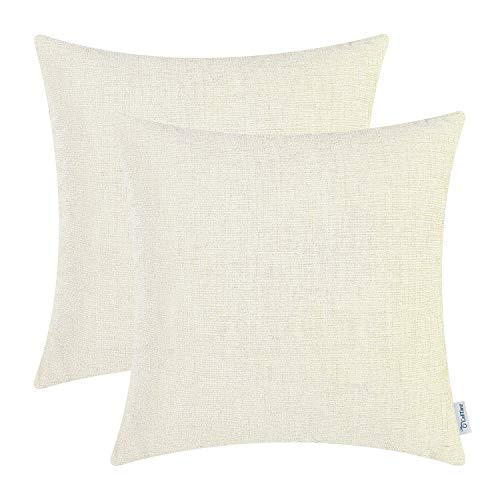 CaliTime Pack of 2 Cozy Throw Pillow Covers Cases for Couch Sofa Home Decoration Solid Dyed Soft Chenille 20 X 20 Inches Cream
