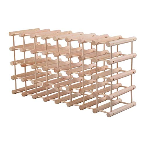 HAPPYGRILL Wood Wine Rack 40-Bottle Stackable Storage Stand Wine Display Shelves, Natural