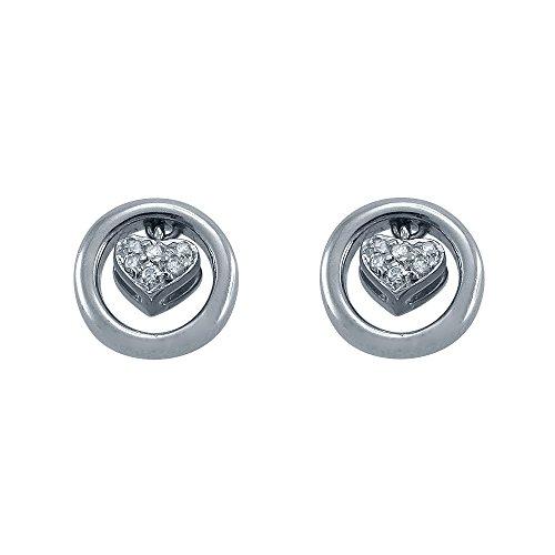 Gold Circle Earrings Heart Diamond (Piero Milano G/VS Diamond 18K White Gold Heart in a Circle Stud Earrings)