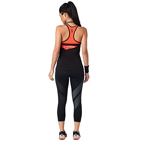 STRONG by Zumba Women's Breathable Workout Halter Tank Top, Bold Black, Large