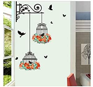 Plane Wall Sticker, Waterproof Environmental Protection Birdcage Decorative Painting Bedroom Living room TV Wall Decoration Wall Stickers Mural 56X76cm