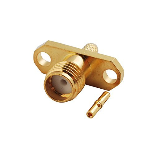 5pcs Rf Wire Coaxial Cable Terminal Copper Alloy Connector Sma Jack 2-hole Flange Panel Crimp for Rg174 Rg316 Lmr100 Ships from USA