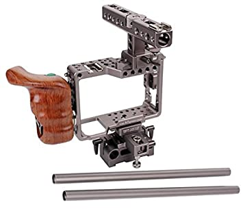 Zowaysoon cámara jaula de madera asa superior placa base para sony ...