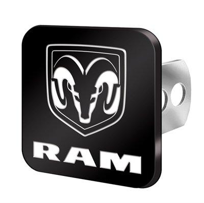 U.A.A. INC. Dodge Ram Head Logo Metallic Black Brushed Hitch Plug Cover - Universal Fit Dodge Ram Head Hitch