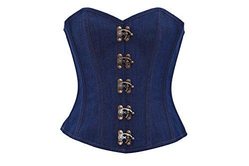 したがって断言するもう一度Blue Denim Bronze Seal Lock Goth Steampunk Waist Cincher Overbust Corset Costume