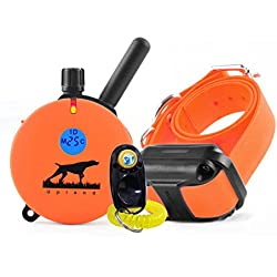 Bundle of 2 items – E-Collar – UL-1200 – 1 Mile Rechargeable Remote Waterproof Upland Hunting Trainer Educator - Static, Vibration and Sound Stimulation collar with PetsTEK Dog Training Clicker