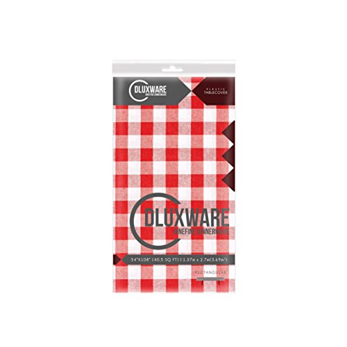 Red Gingham Checkered 1 Pack Premium Disposable Plastic Picnic Tablecloth 54 Inch. x 108 Inch. Rectangle Table Cover By Dluxware