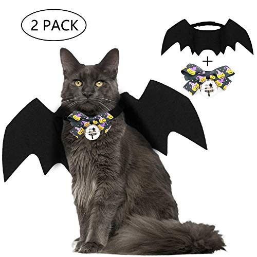 Vehomy 2pcs of Dog Cat Costume Halloween Bat Wings Pet Halloween Pumpkin Bow tie Collar with Bell