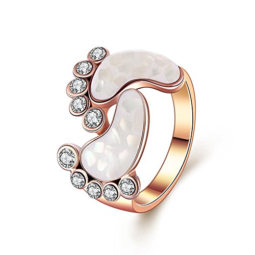 Yfnfxl Womens Sterling Silver Cute Rose Gold Unique Crystal Shell Baby Foot Rings (Baby Rings Feet With)