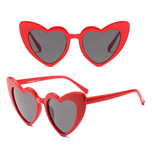 Rétro Gris Classique de Lunettes Femme Rouge soleil coeur Mode Forme Lunettes de BOZEVON 7qEfxRwnE