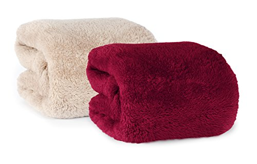 Set of 2 Extra-Fluffy Plush Throw Blankets, Burgundy (Extra Thick Throw Blanket compare prices)