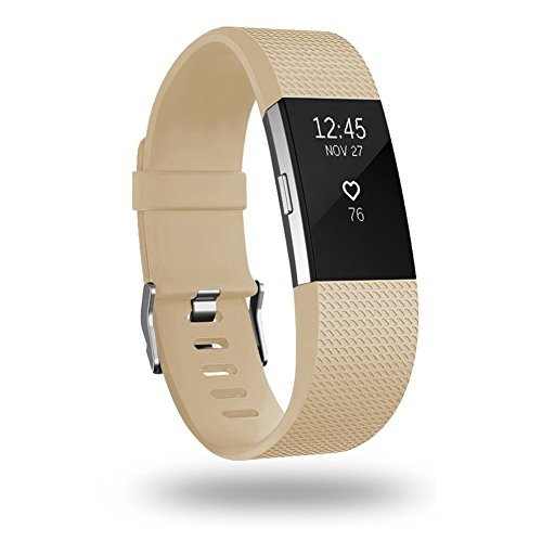 POY Replacement Bands Compatible for Fitbit Charge 2, Classic Edition Adjustable Sport Wristbands, Small Tan