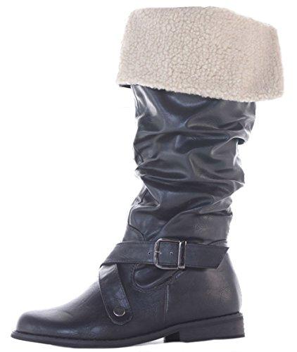 Style Boots Winter Knee Style 6 Flat Black Ladies Riding Womens 8 3 Heel Low 31 5 Size 7 High Fur 4 v5xqFESwE