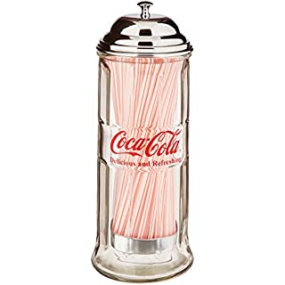 Tablecraft CC322 Coca-Cola Glass Straw Dispenser with Metal Lid, Small