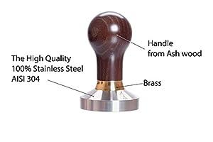 Tamper - Espresso Tamper – Tamper 51mm - Coffee Tamper Elite Series - Coffee Press Tool - Tamper Espresso - Stainless Steel Espresso Tamper - Handle Solid Wood – Pressure Base Tampers