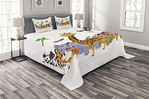 Lunarable Animals Bedspread Set King Size, Colorful Jungle Animals Hippo Bat Parrot Giraffe Rhino Panda Safari Theme African, Decorative Quilted 3 Piece Coverlet Set with 2 Pillow Shams, Multicolor by Lunarable