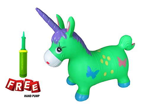 Welliboom Unicorn Hopper Kit  Pump Included  Inflatable Jumping Unicorn  Space Hopper  Ride On Bouncy Unicorn Horse Hopper  Sit And Bounce  5 Colors Available  Green