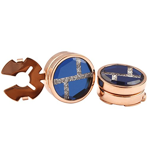 HJ Men's Jewelry Blue Glass with Crystal Round Button Cover Rose Gold