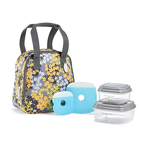 Fit & Fresh Garreston Insulated Lunch Bag Kit with BPA-Free Containers, Yellow Floral Camo