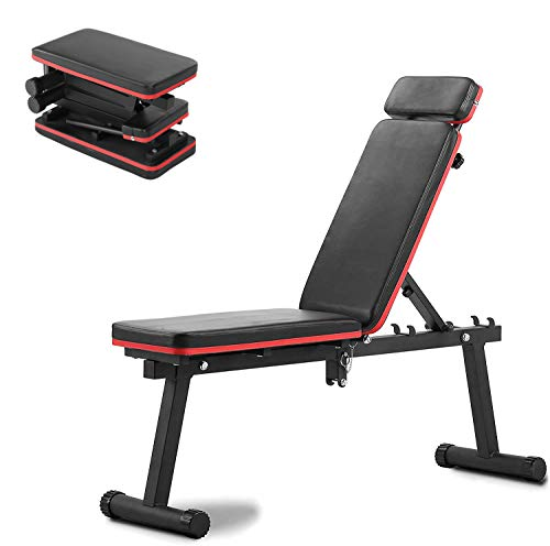 Wesfital Workout Bench Adjustable Weight Bench Foldable Strength Training Bench Utility Exercise Bench For Home Gym…