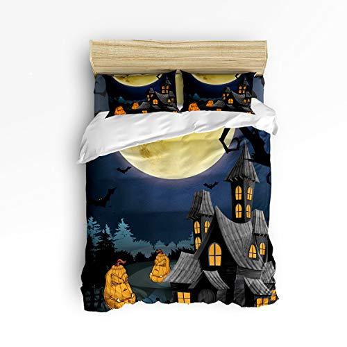 YEHO Art Gallery Full Size 4 Piece Duvet Cover Sets for Kids Boys Girls,Happy Halloween Pumpkin Castle Pattern Bedding Set for Christmas,1 Flat Sheet 1 Duvet Cover and 2 Pillow Cases