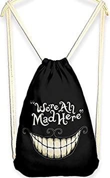 QZUnique Womens Casual Fashion Outdoor Cartoon 3D Digital Printed Neutral Drawstring Backpack Red