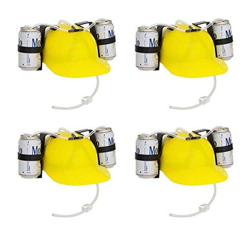 EZ Drinker Beer & Soda Guzzler Helmet Drinking Hat (4 Pack), Yellow ()
