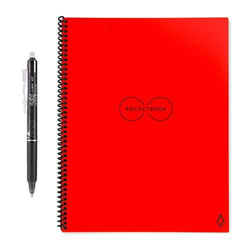 - Rocketbook Everlast Smart Reusable Notebook, Letter Size, Atomic Red, 8.5