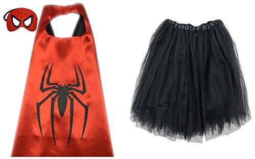 [So Sydney Superhero TUTU, CAPE & MASK Adult Teen Plus Complete Halloween Costume (L (Adult Size), Spiderman)] (Spiderman Tutu Costume)
