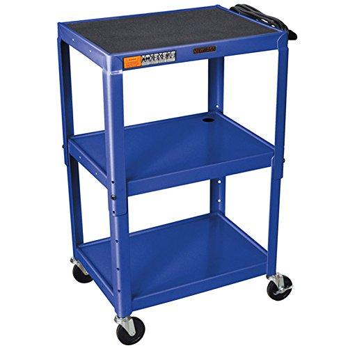 Luxor / H. Wilson W42ABUE Topaz Blue Metal 3 Shelf A/V Utility Cart 18'' x 24'' x 42'' - Adjustable Height